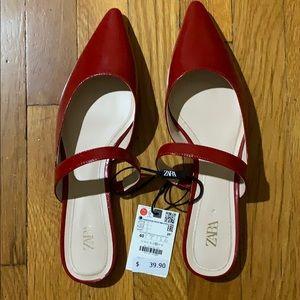 NWT Zara flat mules. Sz 9 or 40.